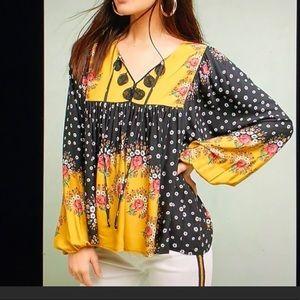 Anthropologie Farm Rio BoHo floral peasant blouse
